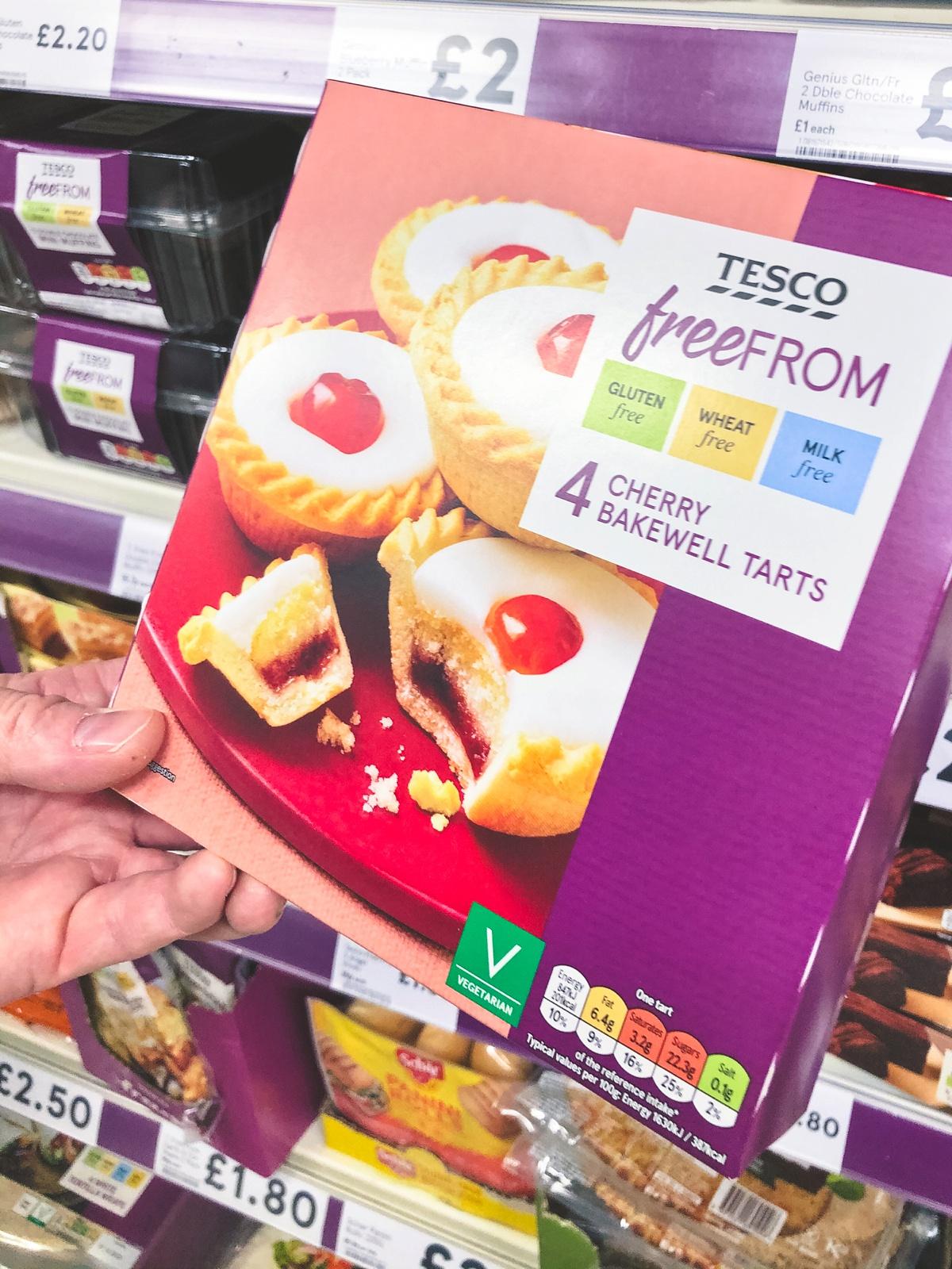 Gluten free cherry bakewell tarts from Tesco